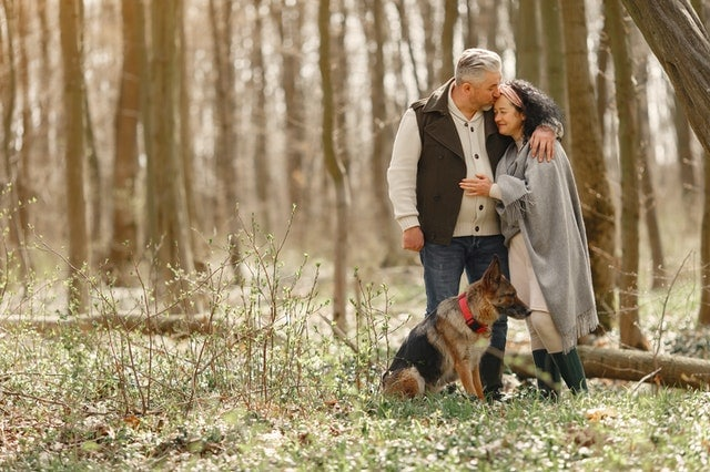 an older couple going for a walk, talking about the debt